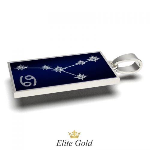 кулон Stella с изображением звездного неба в белом золоте с эмалью
