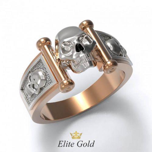 Дизайнерское кольцо Iron skull с черепами в центре и по ободку
