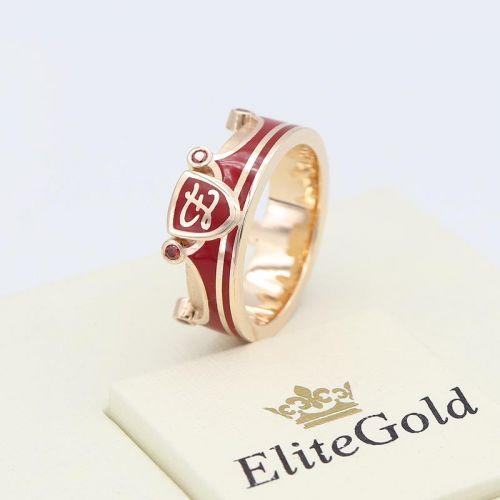 в красном золоте с красной эмалью и камнями
