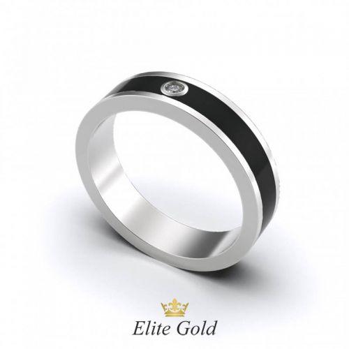 Авторское обручальное кольцо Rachel с эмалью и камнем