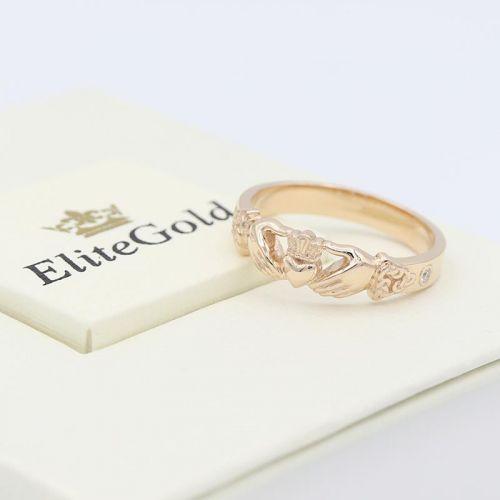 женское кольцо в красном золоте с бриллиантами