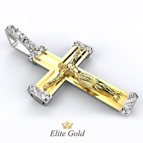 Эксклюзивный мужской крест Распятие в камнях