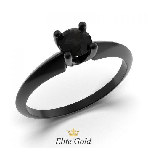кольцо Zahara с черным родиевым покрытием и черным камнем