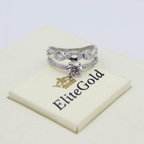 Дизайнерское сдвоенное кольцо Sierra с россыпью камней по ободку