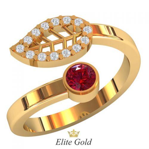 Дизайнерское женское кольцо Pianta с листиком в камнях