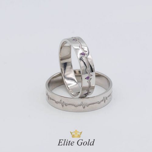 """Обручальные кольца """"Пульс"""" в белом золоте с аметистами"""