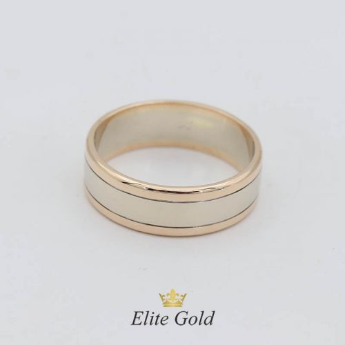 Авторское обручальное кольцо Berta в комбинированном золоте без камней