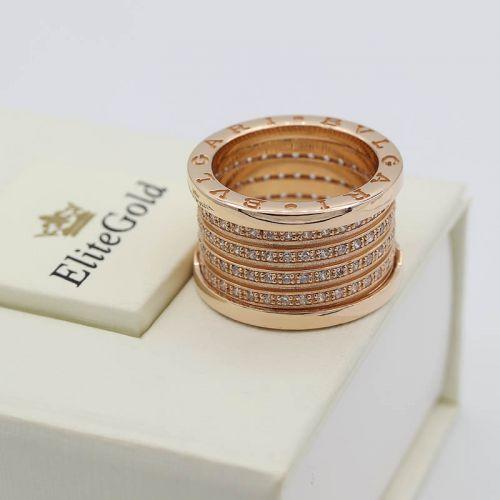 Кольцо в стиле BVLGARI ZERO, усыпанное камнями по спирали