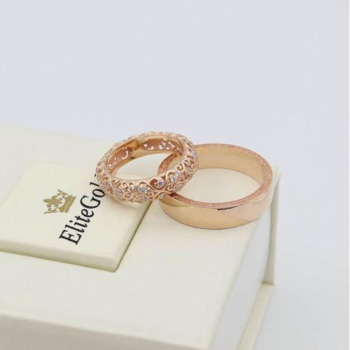 Авторские обручальные кольца Ника с нежными ажурными узорами и камнями