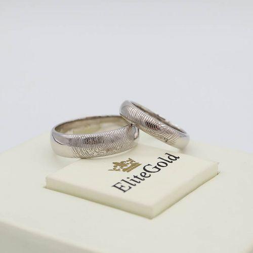 Авторские обручальные кольца Imprint с текстурой отпечатков пальцев