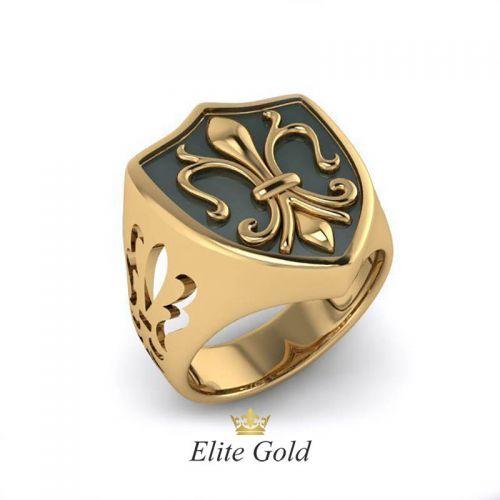 Авторский перстень с геральдической лилией и эмалью