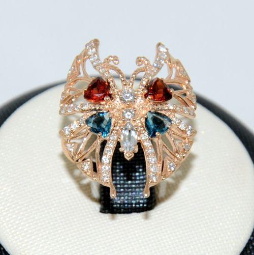 Кольцо широкое Бабочка с камнями