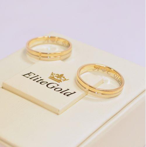 обручальные кольца из двух частей белое и лимонное золото