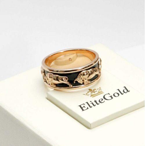 кольцо Buffalo с черной эмалью в красном золоте
