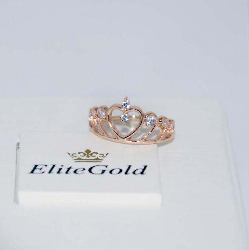 кольцо корона с белыми камнями в красном золоте