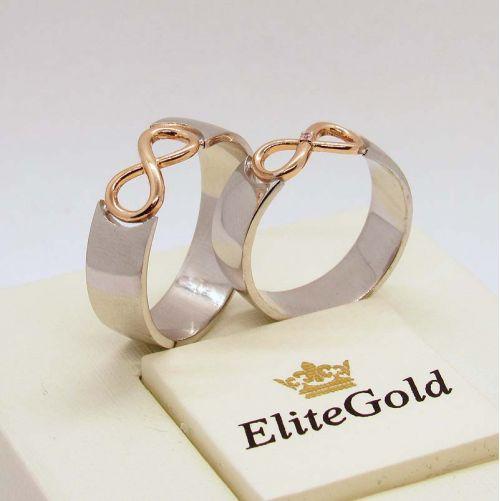 кольца Infinity в белом и красном золоте - вид сбоку