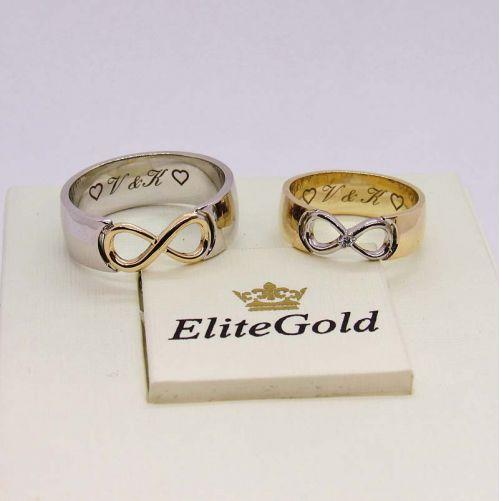 кольца Infinity в белом и лимонном золоте
