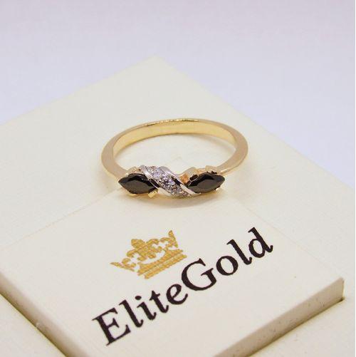 кольцо Joanne в лимонном и белом золоте с черными камнями