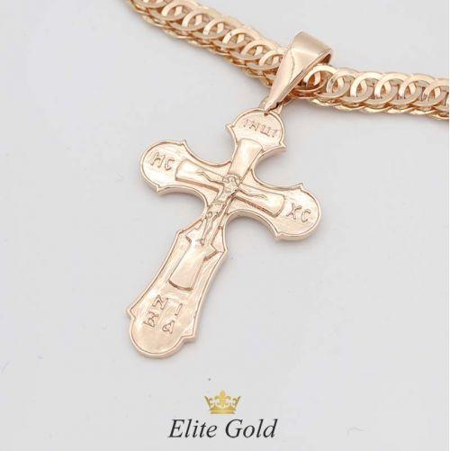 крест в красном золоте без камней с цепью