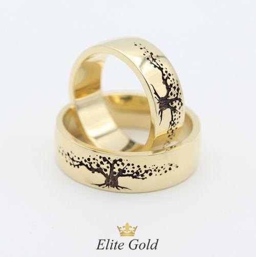 Кольца Дерево Жизни в лимонном золоте с черным родием
