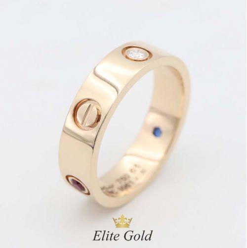 кольцо картье в красном золоте с 3 разноцветными камнями