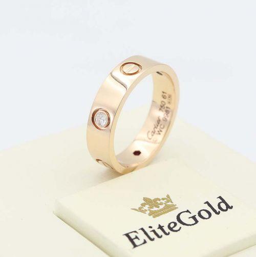 кольцо картье в красном золоте с бриллиантом