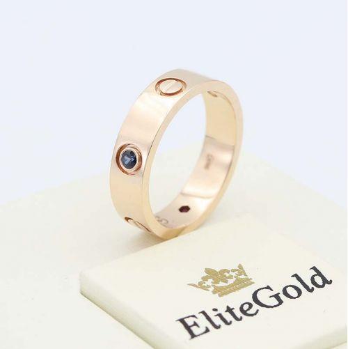 кольцо картье в красном золоте с сапфиром