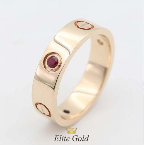 кольцо картье в красном золоте с рубином