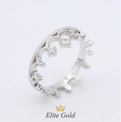 кольцо корона в белом золоте