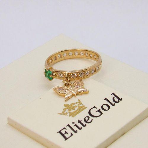 кольцо с бабочкой в золоте 585