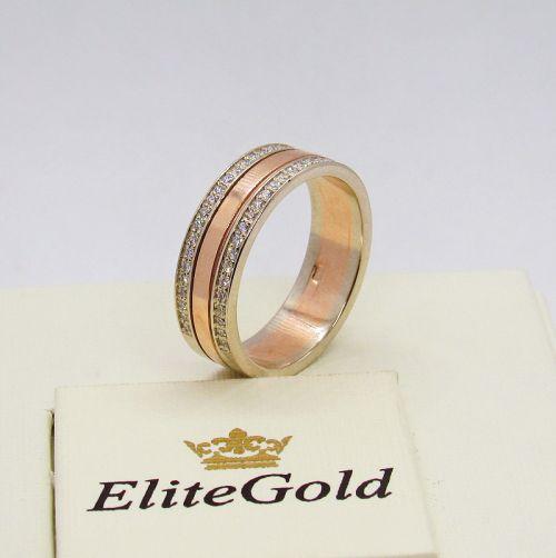 кольцо Only Love в красном золоте с камнями