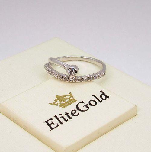 кольцо с бриллиантами в белом золоте