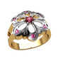 женское кольцо в виде цветочка с сиреневыми камнями